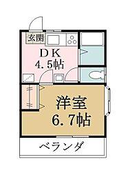 田川ハイツ2[201号室]の間取り
