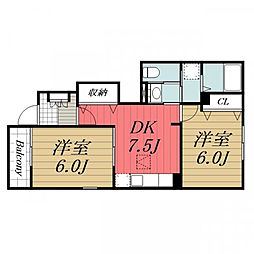 京成本線 公津の杜駅 徒歩21分の賃貸アパート 1階2DKの間取り