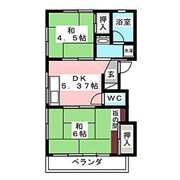 メゾンド中川 2階2DKの間取り