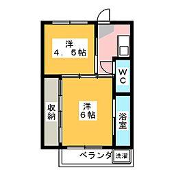 ビレッジハウス巣南 1号棟[3階]の間取り