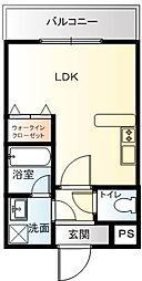 京町キングダム 3階ワンルームの間取り