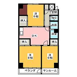 卸商サンプラザ[4階]の間取り
