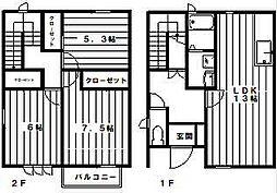 [テラスハウス] 神奈川県川崎市多摩区長尾6丁目 の賃貸【/】の間取り