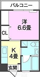 バス 志真志下車 徒歩10分の賃貸マンション 3階1Kの間取り