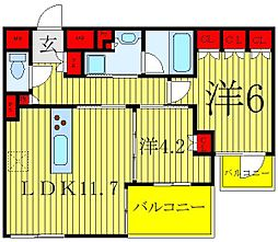 ザ・レジデンス駒込染井 1階2LDKの間取り