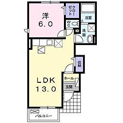 JR中央本線 塩崎駅 6.4kmの賃貸アパート 1階1LDKの間取り