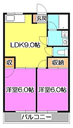 埼玉県新座市石神4丁目の賃貸マンションの間取り