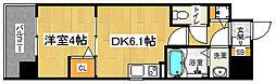 「アスヴェル京都太秦」 2階1DKの間取り