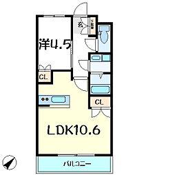 ウエストヒルズ壱番館 1階1LDKの間取り