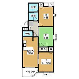 ベルパークD[3階]の間取り