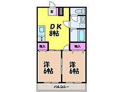 愛媛県松山市小栗4丁目の賃貸マンションの間取り