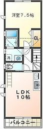 JR中央本線 国立駅 徒歩14分の賃貸アパート 2階1LDKの間取り