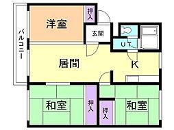 コーポオカムラ 3階3LDKの間取り