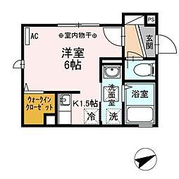JR山手線 田端駅 徒歩10分の賃貸アパート 1階1Kの間取り