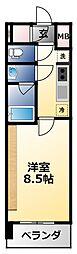 近鉄南大阪線 河堀口駅 徒歩8分の賃貸マンション 2階1Kの間取り