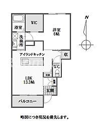 徳島県徳島市南矢三町2丁目の賃貸アパートの間取り