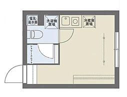 COCOFLAT SASAZUKAIII 1階ワンルームの間取り