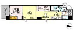 岡山電気軌道清輝橋線 大雲寺前駅 徒歩4分の賃貸マンション 8階1LDKの間取り