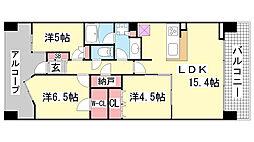 クレヴィアタワー神戸ハーバーランド[609号室]の間取り