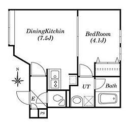 ガーデンコート 3階1DKの間取り