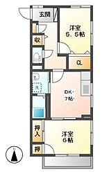 ハウス東和[1階]の間取り