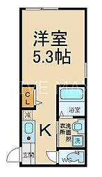 サンフェリシアン東福寺 3階1Kの間取り
