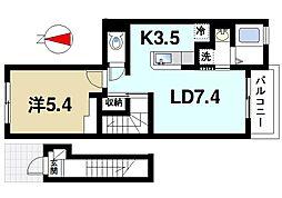 奈良県奈良市南京終町4の賃貸アパートの間取り