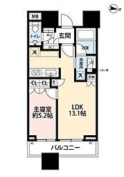 パークコート渋谷ザタワー 7階1LDKの間取り
