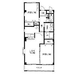 オオシマハイツベル[3階]の間取り