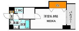 Osaka Metro御堂筋線 西田辺駅 徒歩5分の賃貸マンション 5階1Kの間取り