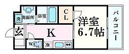 阪神本線 甲子園駅 徒歩20分の賃貸マンション 2階ワンルームの間取り
