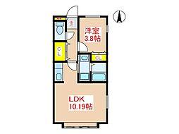 JR日豊本線 帖佐駅 徒歩17分の賃貸アパート 2階1LDKの間取り