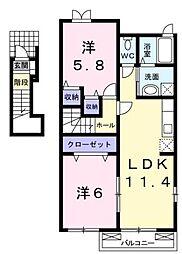 アンフィニフレンディア2 C・D棟[2階]の間取り