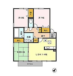 リヴェールタウン赤松[A102号室]の間取り