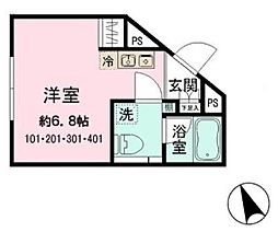 東京メトロ丸ノ内線 新大塚駅 徒歩5分の賃貸マンション 3階ワンルームの間取り
