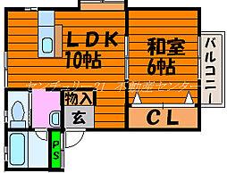 岡山県岡山市北区南方4丁目の賃貸アパートの間取り