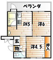 ビレッジハウス 小倉南[2階]の間取り