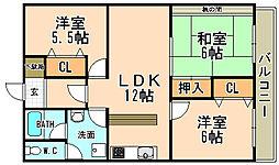 兵庫県宝塚市川面4丁目の賃貸マンションの間取り
