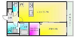 ドミソレイユ4 3階1LDKの間取り