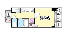 プレサンス三ノ宮駅前プライムタイム[5階]の間取り