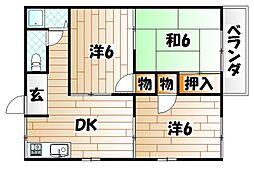 福岡県田川市大字弓削田の賃貸アパートの間取り