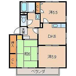 ハイツ楠2[2階]の間取り