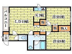ピースフル3・3[1階]の間取り