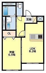 愛知県豊田市美里1丁目の賃貸アパートの間取り