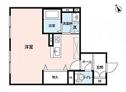 JR可部線 下祇園駅 徒歩3分の賃貸アパート 1階ワンルームの間取り