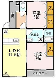 岡山県倉敷市広江2の賃貸アパートの間取り