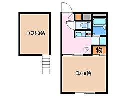 静岡県御殿場市新橋の賃貸アパートの間取り