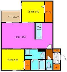 東大阪市シャーメゾン岩田町5丁目 3階2LDKの間取り