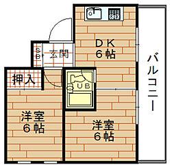 第6向和マンション[4階]の間取り