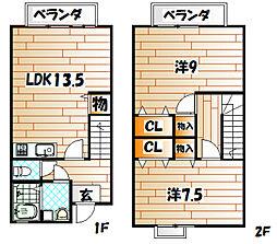 福岡県北九州市小倉北区都1丁目の賃貸アパートの間取り